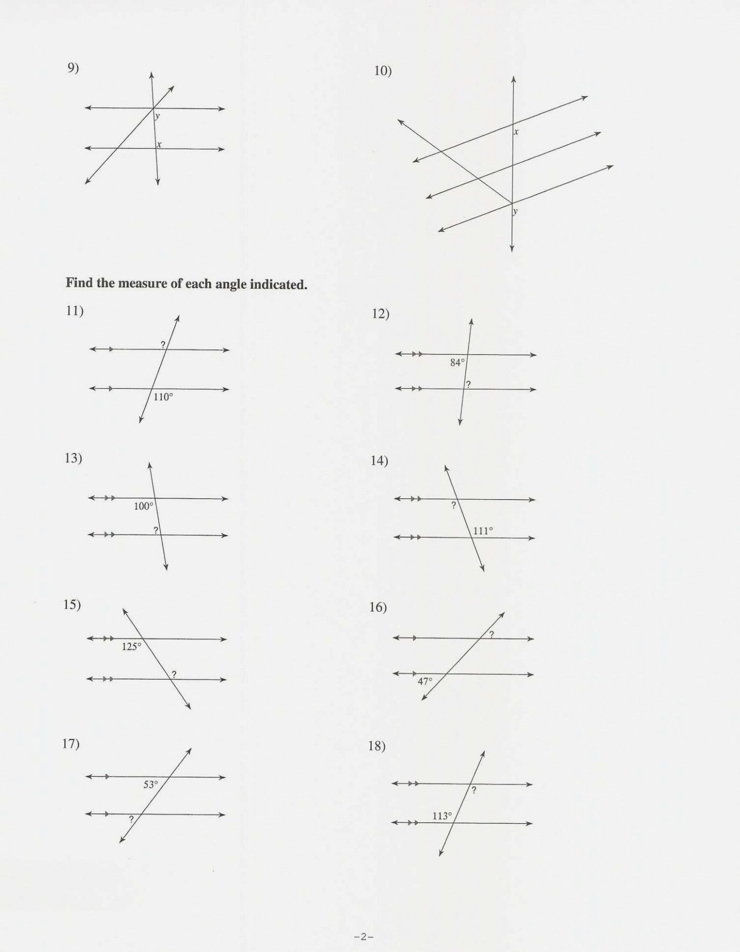 Periodicrecent Parallel Lines And Transversals Worksheet