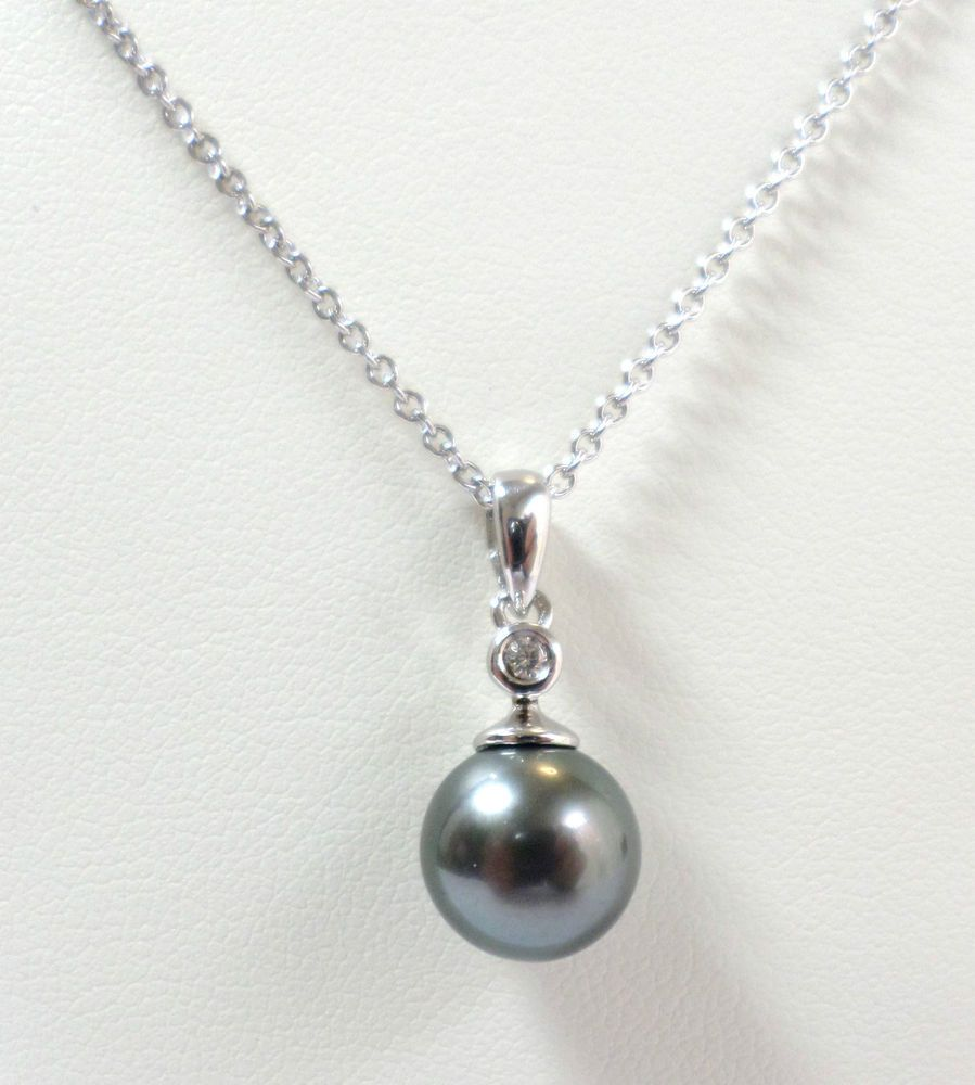 """Jewellery Sterling Silver Cultured Tahitian Pearl and Diamond Pendant and Chain 18"""" 20"""" Starting Price £35.00"""