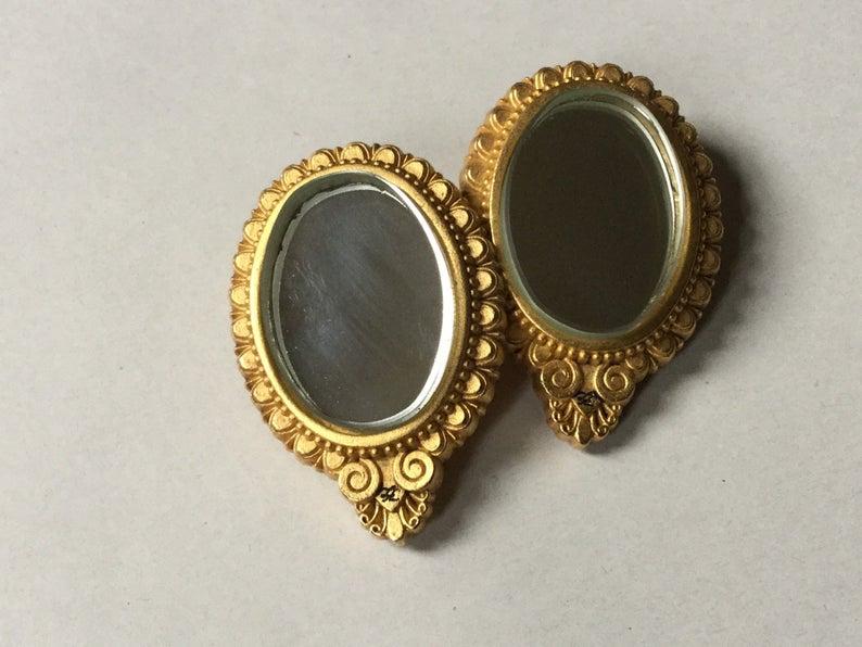 Karl Lagerfeld Oval Mirror Clip On Earrings Gold Tone Art