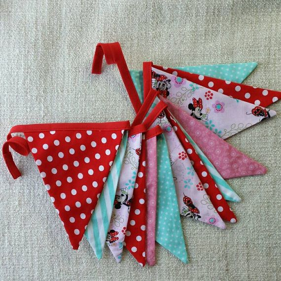 Minnie Mouse pink/ red/ aqua fabric pennant bunting banner for parties or decor Disney Inspired