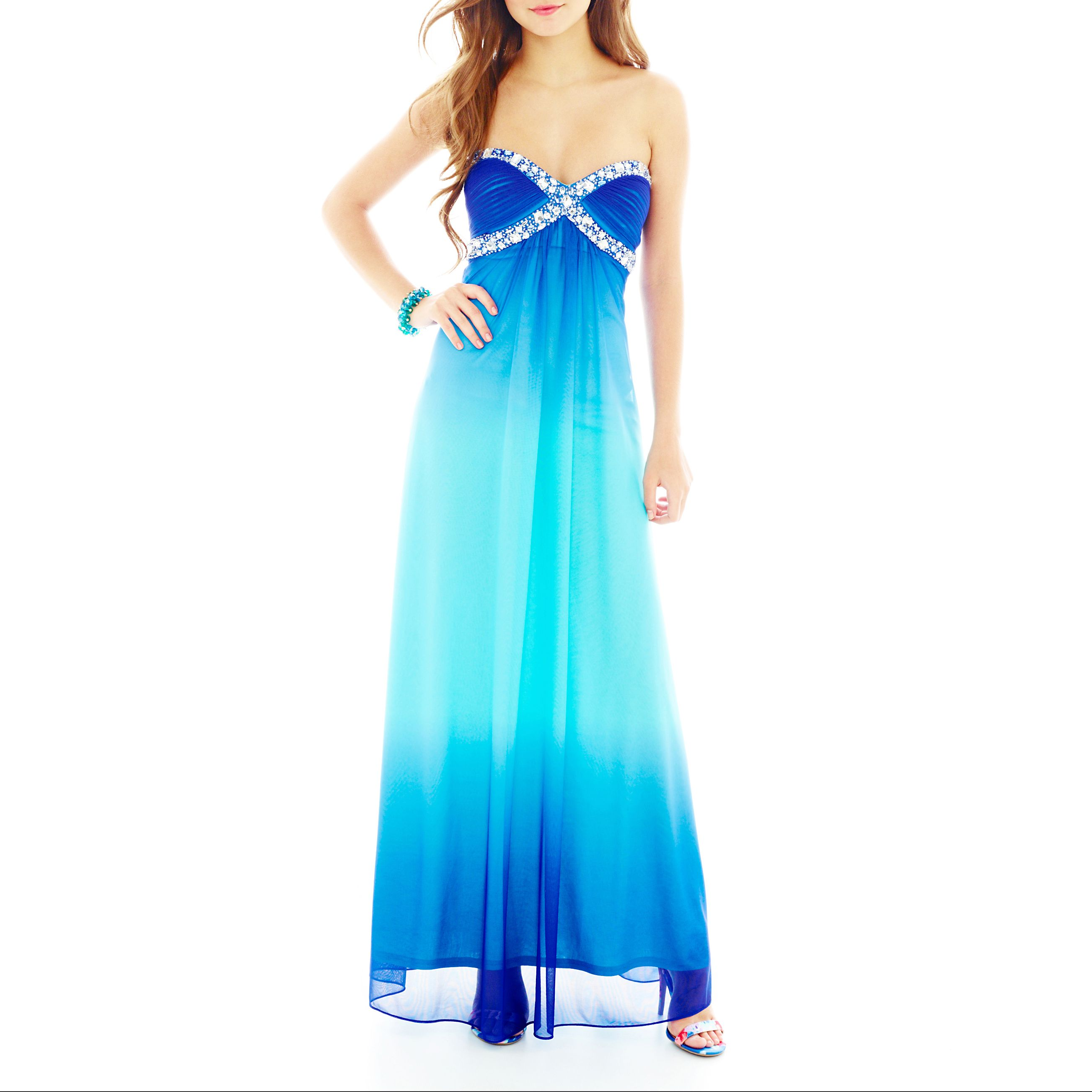 Onyx Long Slim Dress Sweetheart Ombre with Bead Trim - JCPenney ...