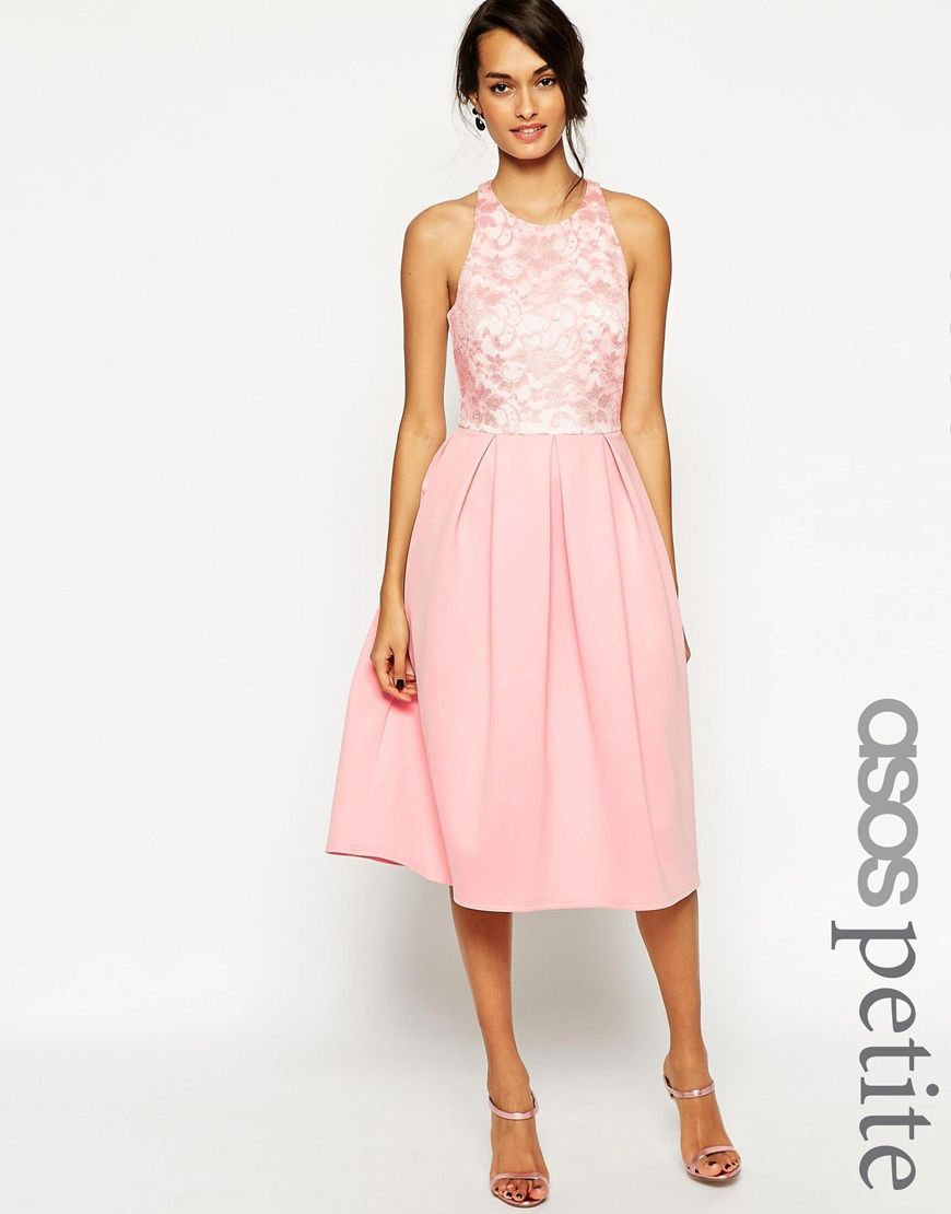 Image 1 of ASOS PETITE Lace Top Scuba Skater Midi Dress | Dress ...
