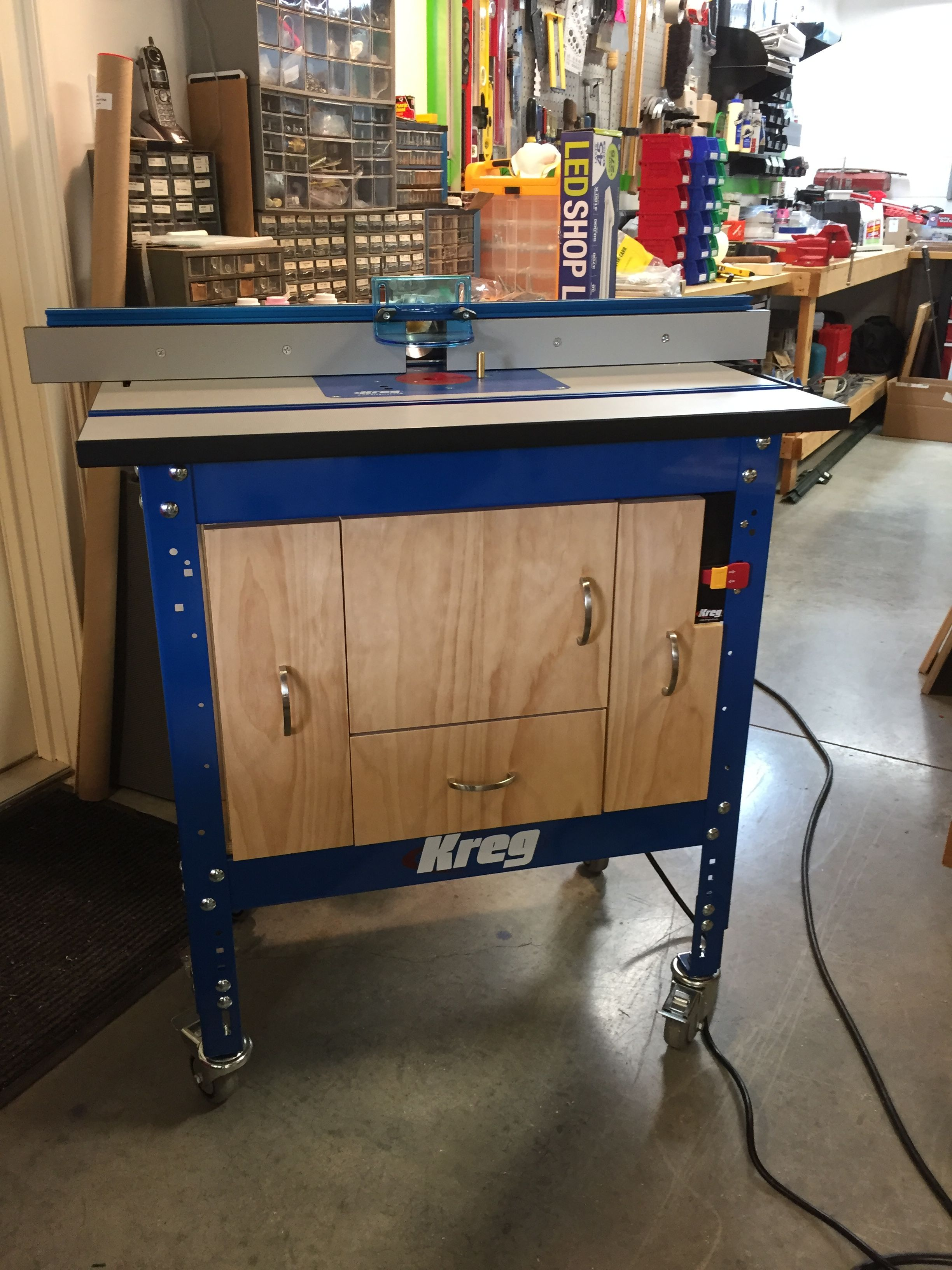 Kreg Router Table Cabinet From Plans With Modifications Added Center Drawer At Bottom Cutoff Safety Switch Upper Right