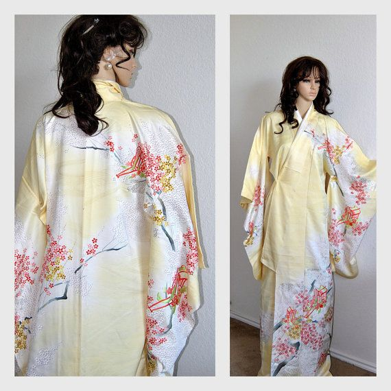 Sale 15 Off Authentic Japanese Silk Kimono Robe Vintage Embroidery Gold Silver Cherry Blossom Floral Weddings Bri Robe Vintage Japanese Silk Bridal Cover Up