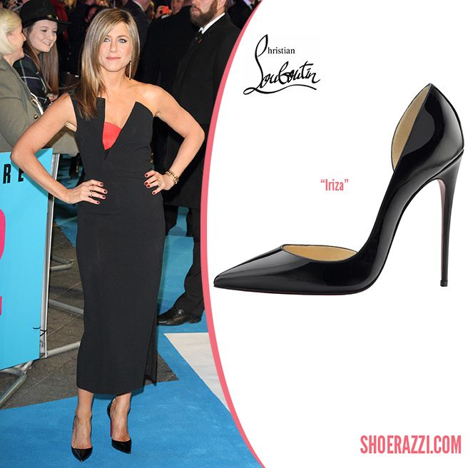 556da5cf4484 Jennifer Aniston in Christian Louboutin Iriza Patent Leather d Orsay Pumps.Outfit  Details  Antonio Berardi Spring 2015 featuring cutwork at the bodice that  ...