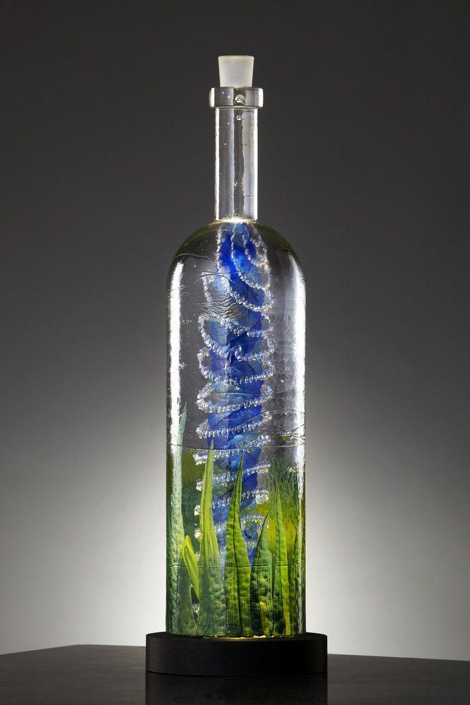 Unique Art Glass Bottle Design By Kjell Engman For Kosta Boda