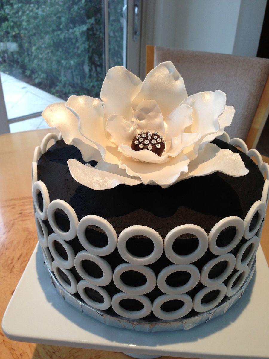 Pleasant Black White Sophisticated Birthday Cake Cake Adult Birthday Funny Birthday Cards Online Alyptdamsfinfo