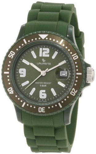 Laurens Unisex GW41J909Y Rotating Bezel Green Rubber Watch Laurens. $79.99. Soft green rubber strap. Green dial with date window. Mineral crystal with magnifying lens. Unidirectional rotating bezel with minute track. Second-hand feature