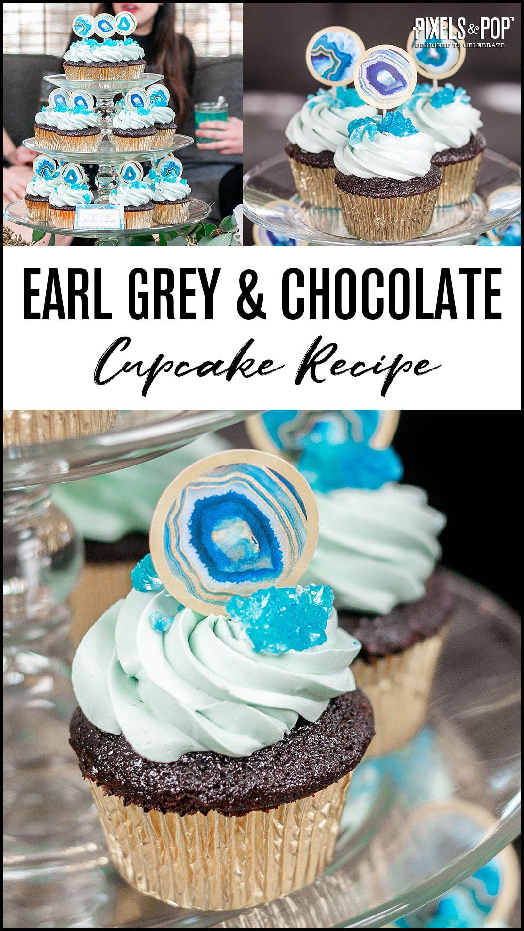 This Earl Grey & Chocolate Cupcake recipe is sure to rock your tastebuds! They're perfect for any celebration, especially a Geode or gem party!
