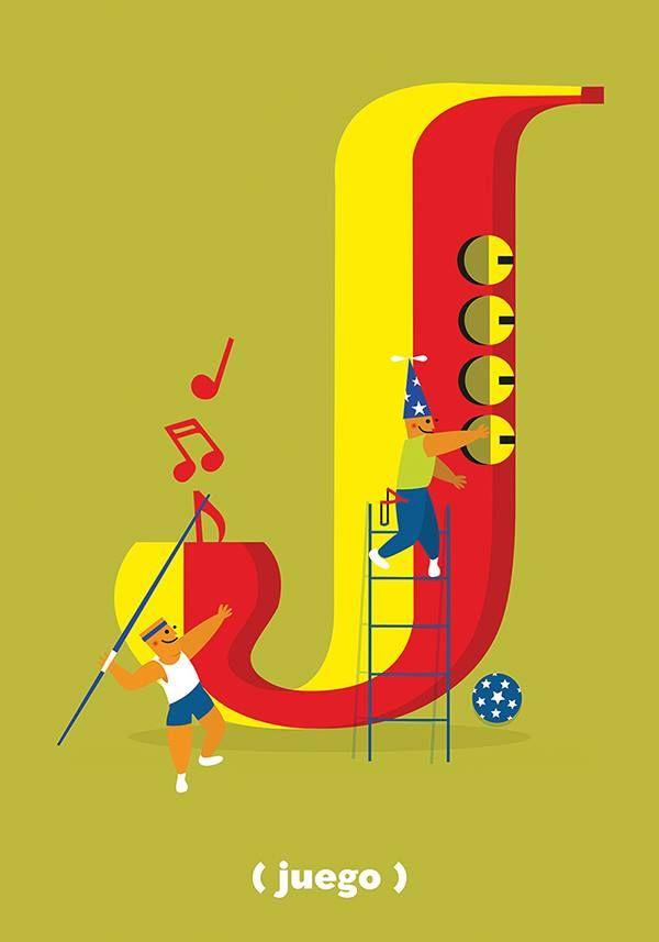 """Jota  """"Es la letra del jazz, música celestial. Es la letra de jabalina, arma arrojadiza, cuyo lanzamiento es deporte olímpico. Juergas, jolgorios, júbilos y juegos. ¡Pura alegría!""""  Texto: Fragmento de «El hornitorrinco lector y sus dados de letras» de José Antonio Lugo  Ilustración: Jesus Vargas, alumno de la Licenciatura en Diseño Gráfico."""