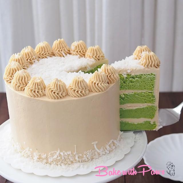 Melaka Swiss Meringue Buttercream Pandan Cake With Gula Melaka Buttercream Pandan Cake Pandan Chiffon Cake Cookie Cake Recipe Pandan Cake Cake