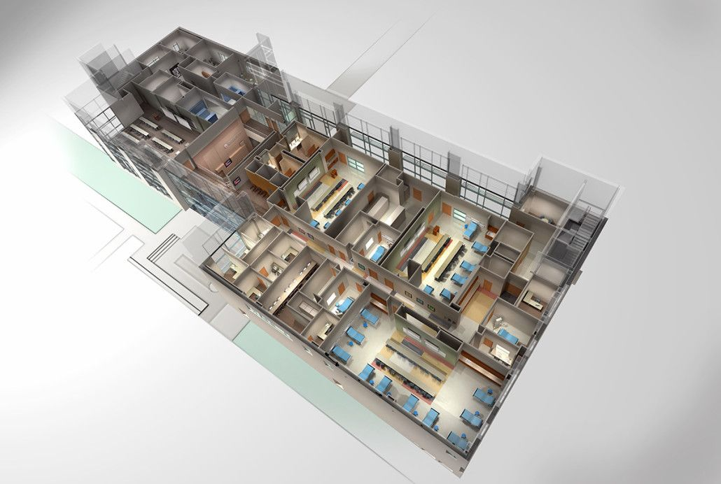 University nursing school floor plan 3d rendering for 3d floor design