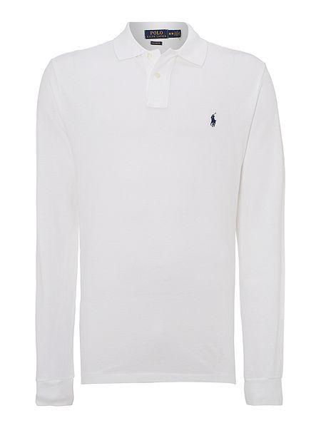 Polo Ralph Lauren Custom-Fit Long-Sleeve Polo Shirt - White Mens ...