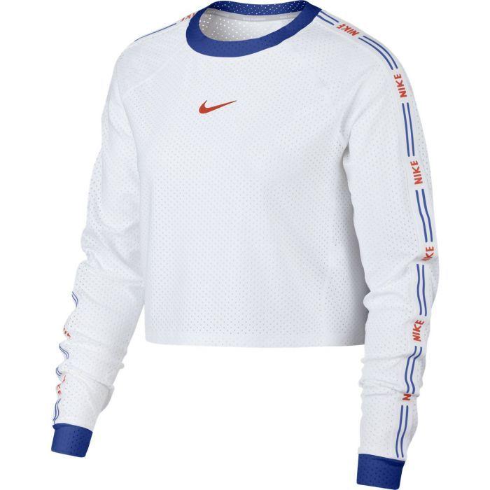 Nike W NK RN HYP FEM TOP LS CROP, ženska tekaška bluza, bela