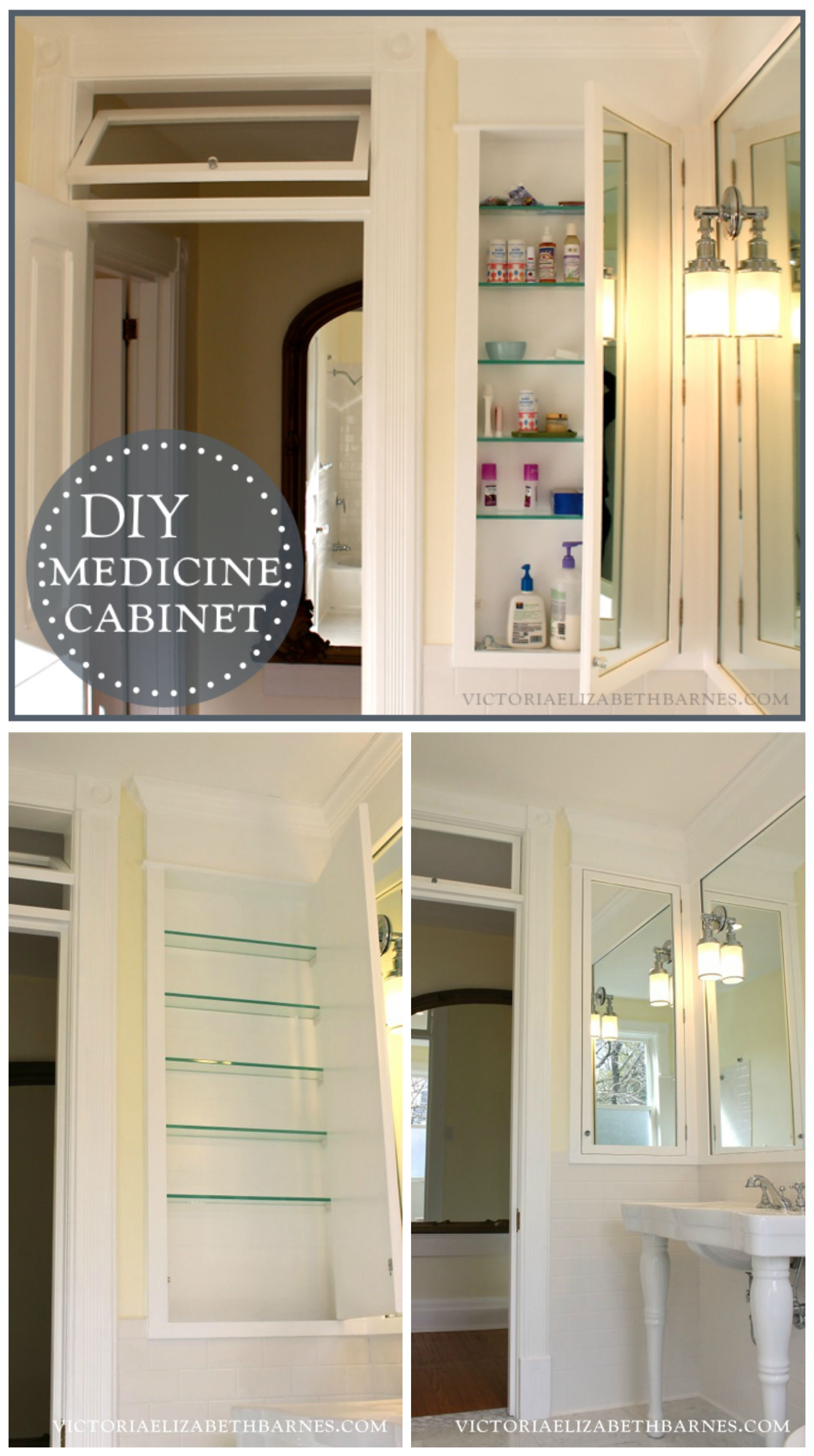 We designed and built an extra-tall, mirrored storage and medicine cabinet for our old-house bathroom remodel… it's a GREAT way to use the space between wall studs!!