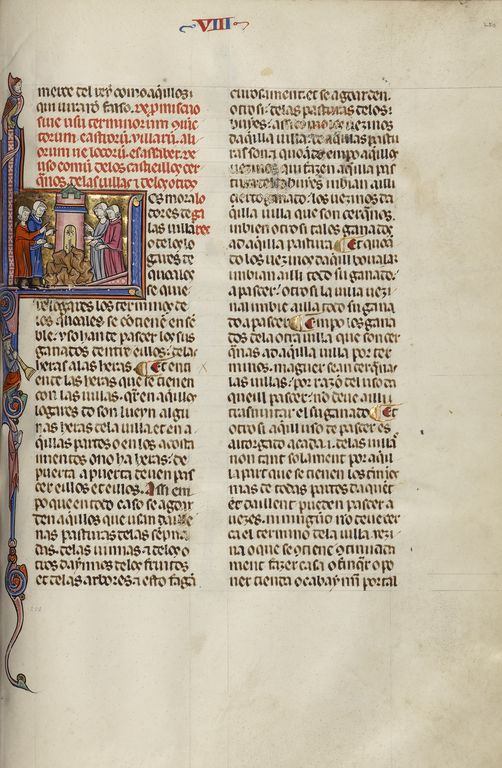 Initial L: Four Men Gathered around a Tower. Unknown, Michael Lupi de Çandiu (Spanish, active Pamplona, Spain 1297 - 1305); Northeastern Spain, Spain; about 1290 - 1310; Tempera colors, gold leaf, and ink on parchment; Leaf: 36.5 x 24 cm (14 3/8 x 9 7/16 in.); Ms. Ludwig XIV 6, fol. 250; J. Paul Getty Museum, Los Angeles, California
