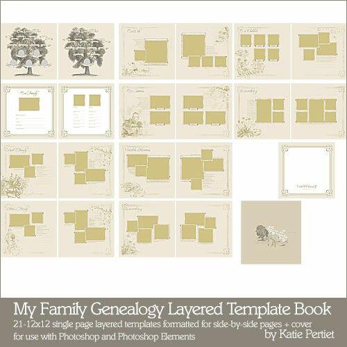 My Family Genealogy Layered Template Book - Digital Scrapbooking ...