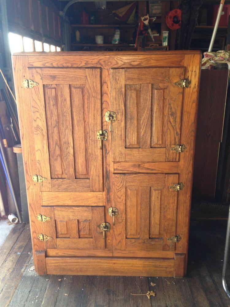 Antique Golden Oak Four Door Ice Box Victorian Furniture Wood Stove Cooking