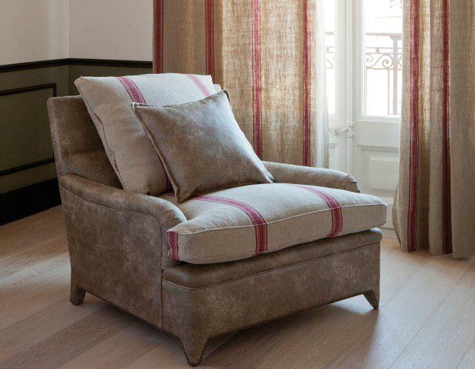 Lino de rayas vintage telas envejecidas y lavadas linos sillones telas y butacas - Sillones de tela ...