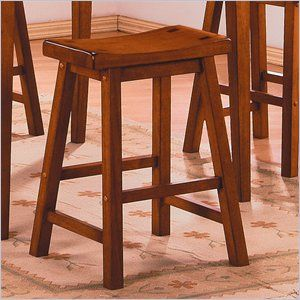 Homelegance Saddleback 24 Seat Height Bar Stool in Oak (Set of 2)