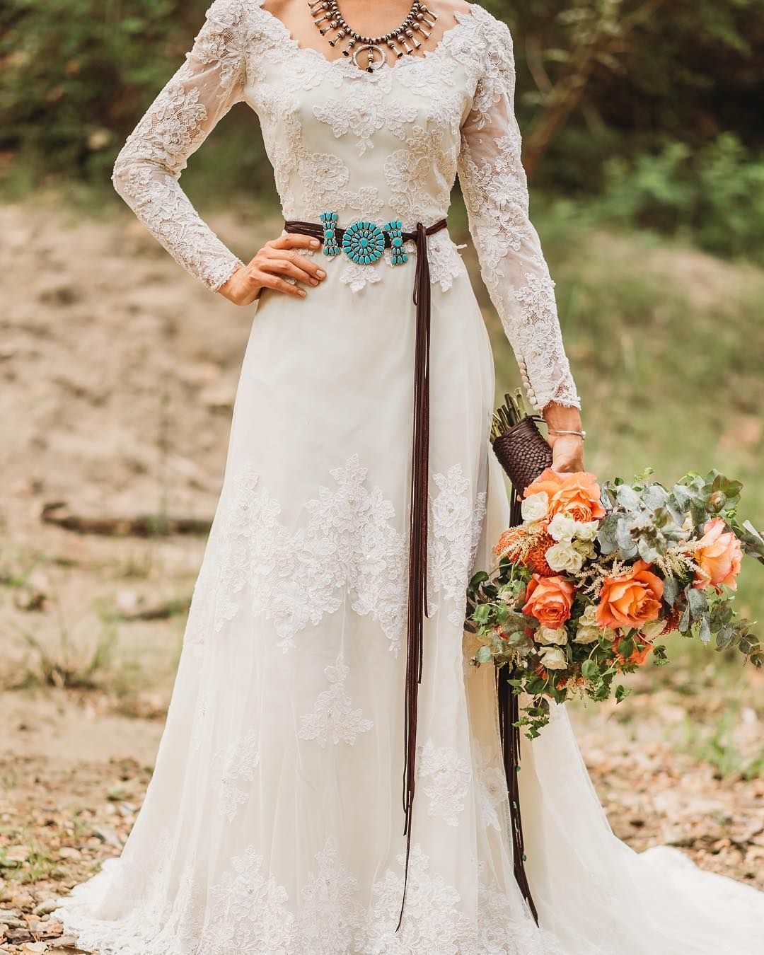 Let Us Complete Your Wedding Day Look With Our Custom Made Leather Accessories Ta Turquoise Wedding Dresses Southwestern Wedding Dress Western Wedding Dresses [ 1350 x 1080 Pixel ]