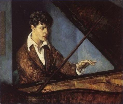 Leo Ornstein at the Piano (color) by Leon Kroll Leon