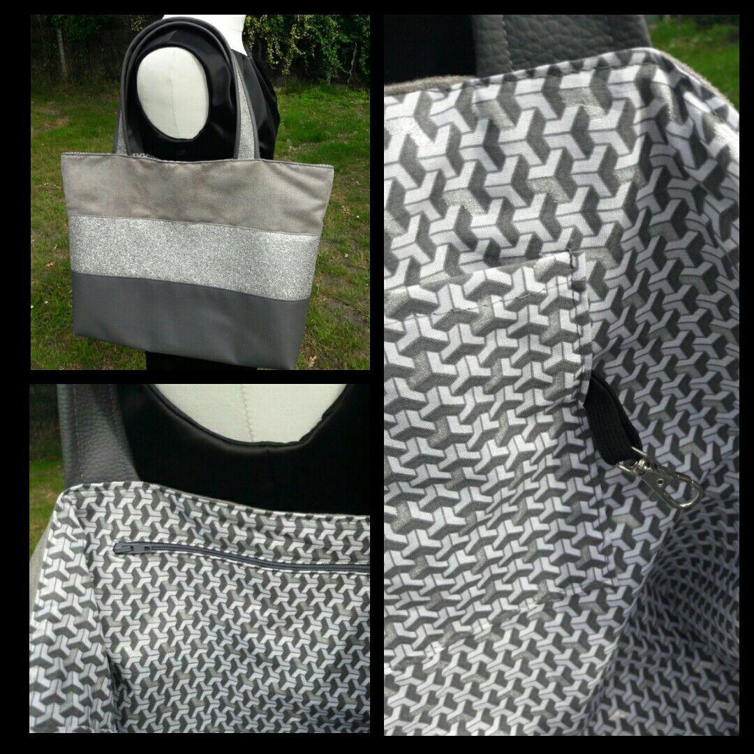 fa97fc2a75 Sac de cours pour ados gris trois bandes | Mes créations Boutons et ...