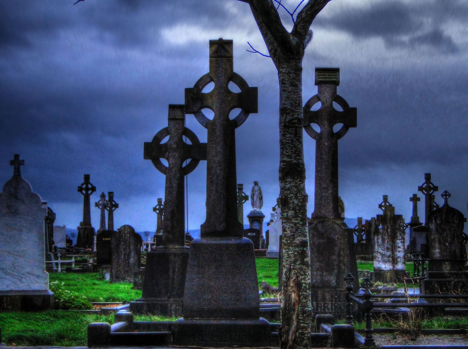 Cemetery and graveyard tattoo on half sleeve - Celtic Army Cross Cemetery Grave Yard Blue By Uniqueexpressionsart 22 00