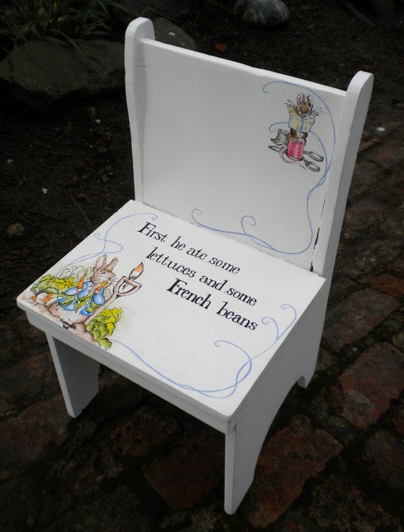 VINTAGE Handmade Handpainted Childs Chair In Beatrix Potter Style Peter  Rabbit Home Decor Childs Bedroom,