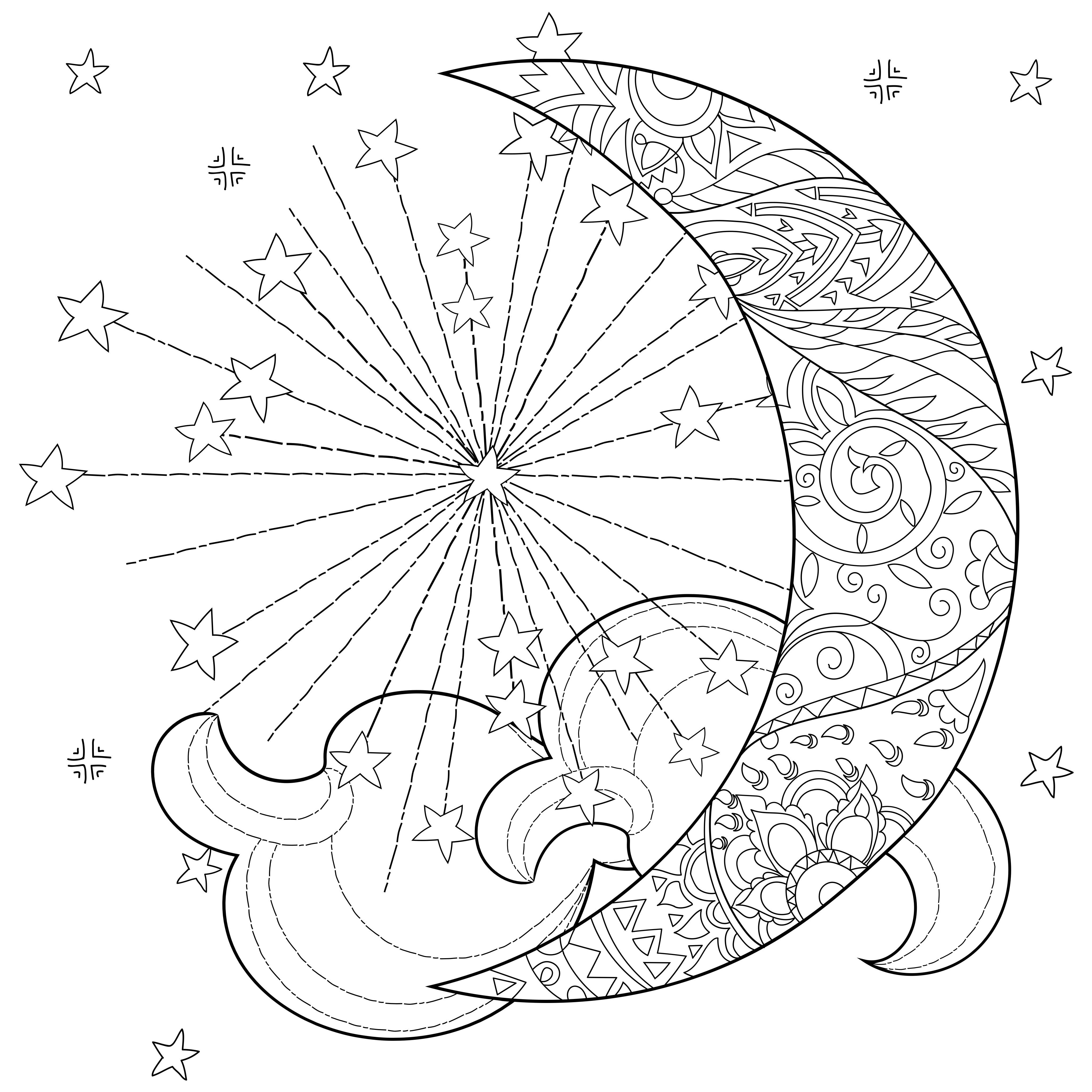 Celestial Sun Moon Coloring Page Star Coloring Pages Mandala Coloring Pages Moon Coloring Pages