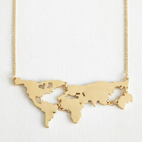 gold plated world map pendant necklace jewelry gold plated world map pendant necklace jewelry gumiabroncs Image collections