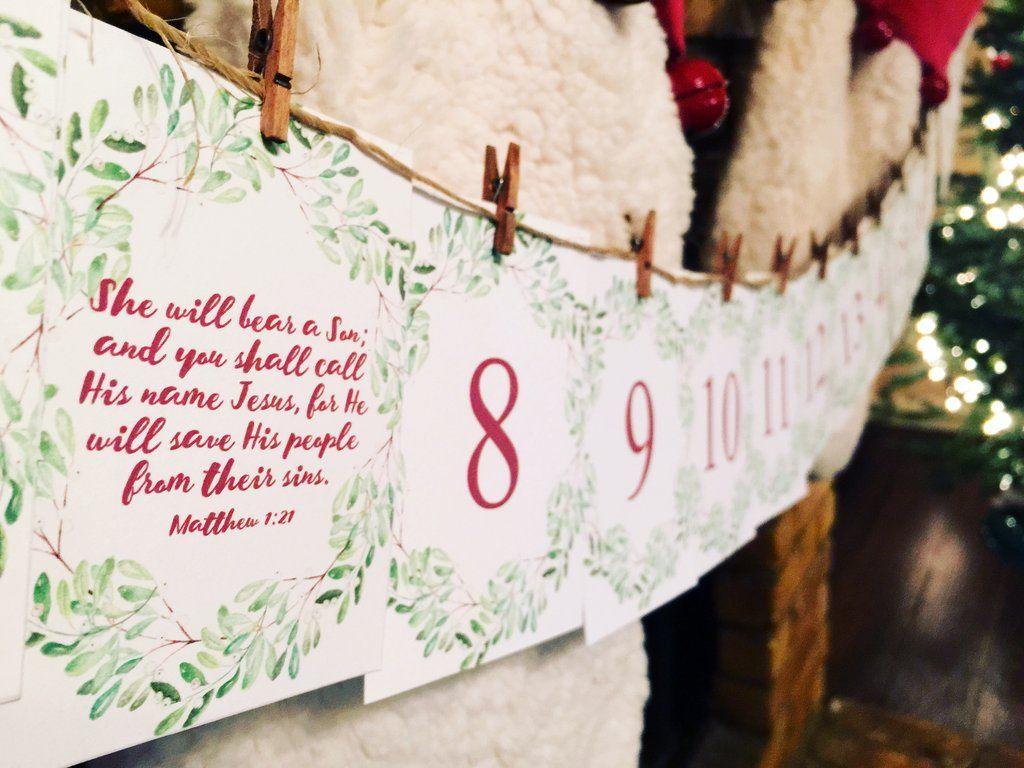Free Printable Advent Calendar with Christmas Bible verses ...