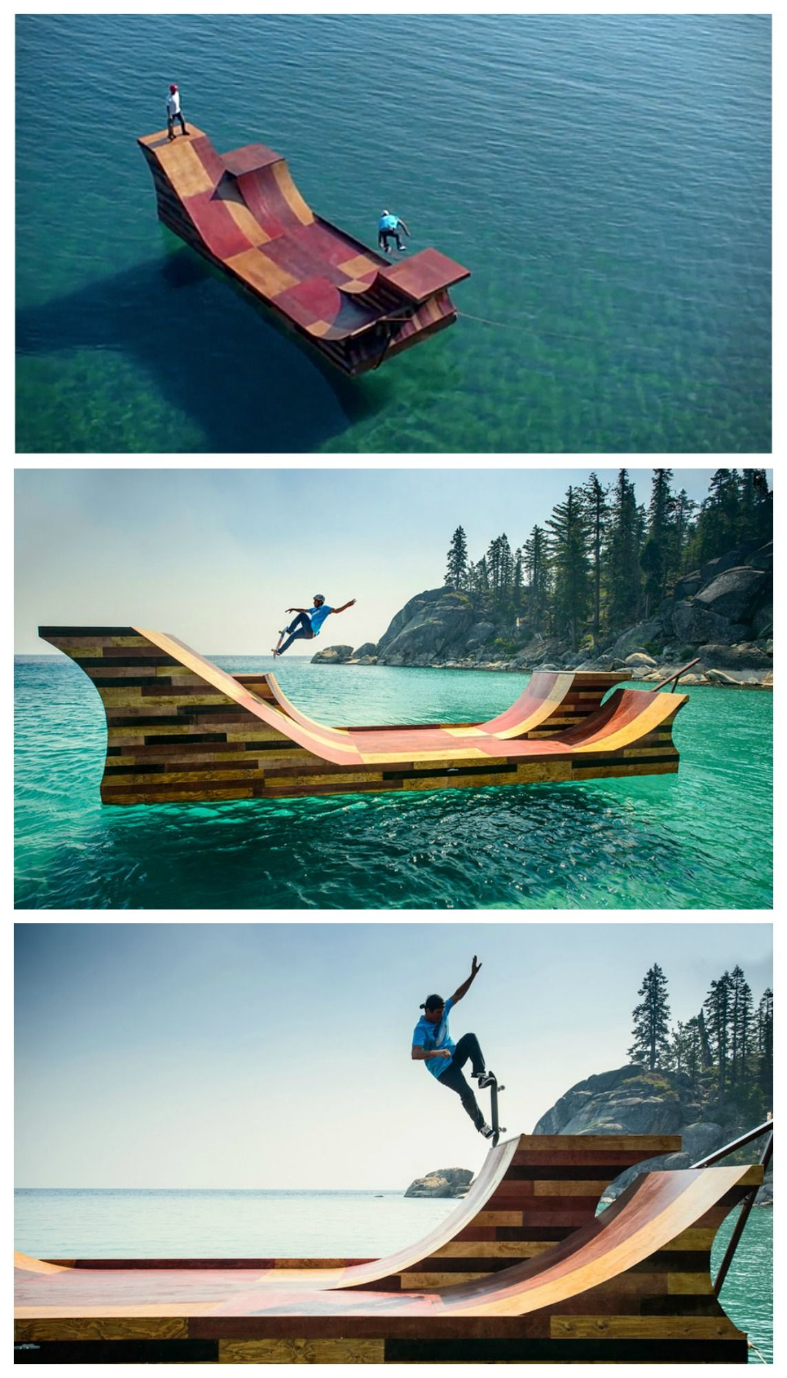 floating skate ramp water skateboard and surf