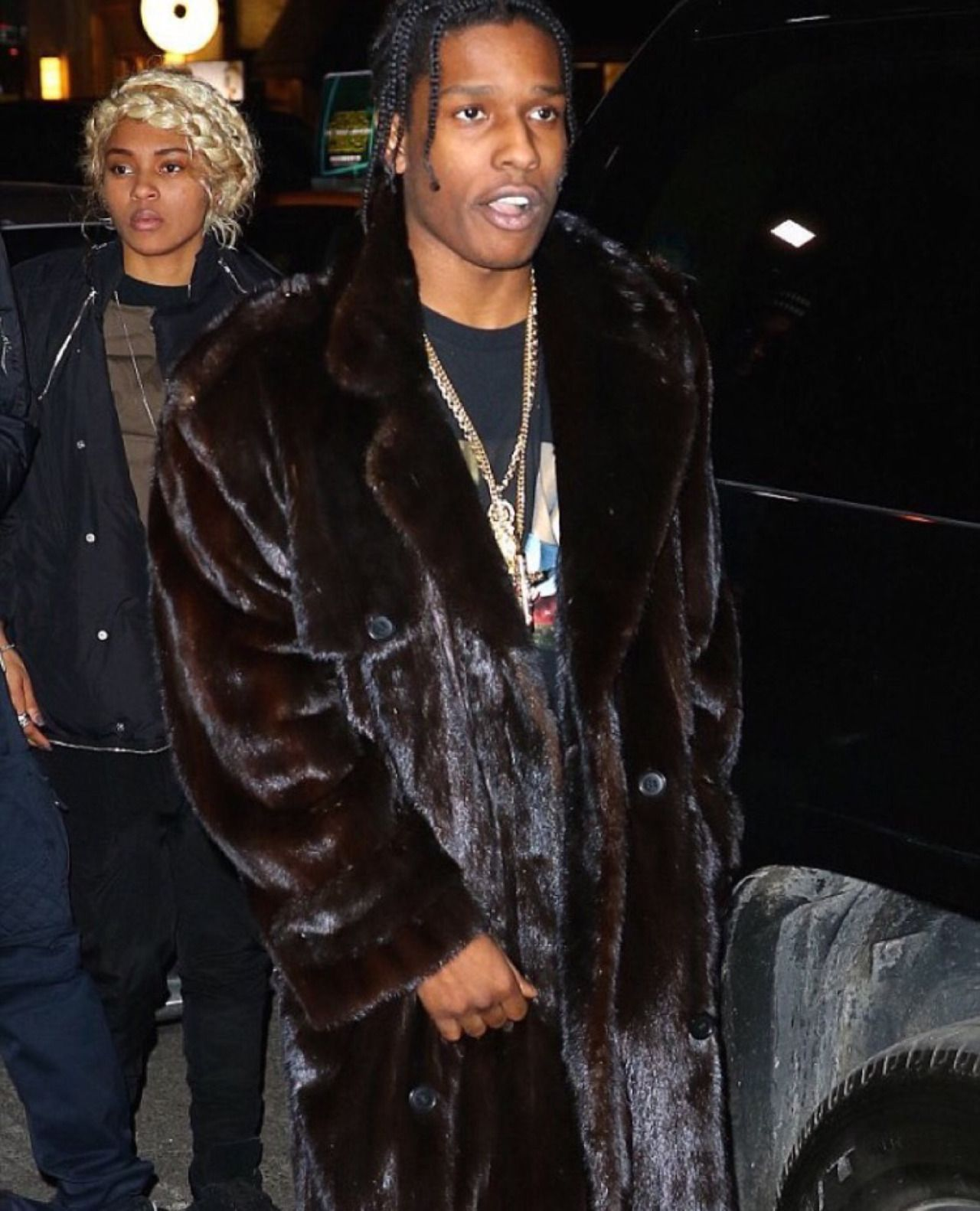 fur + chains + graphic tee