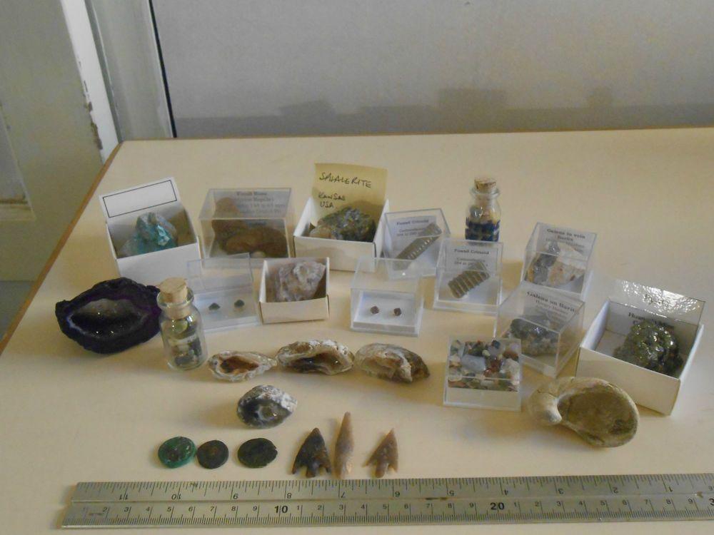 Job lot rocks fossils gem minerals neolithic arrowheads