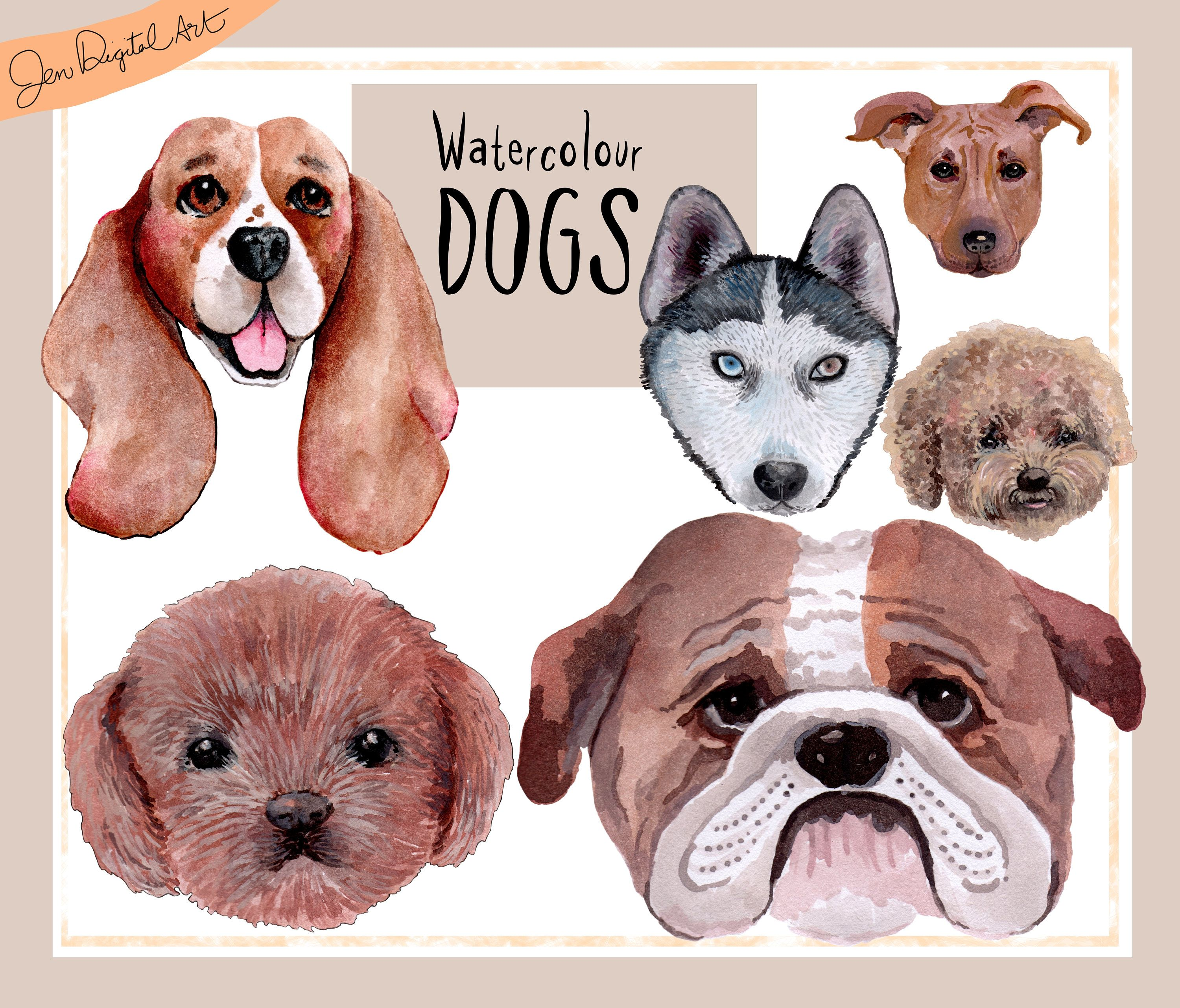 Hand painted uwatercolor dogsu pngjpeg digital images graphic