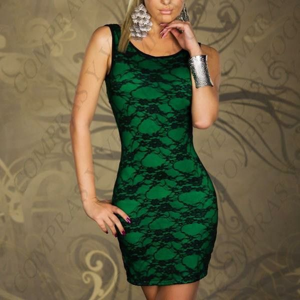 Vestido encaje verde