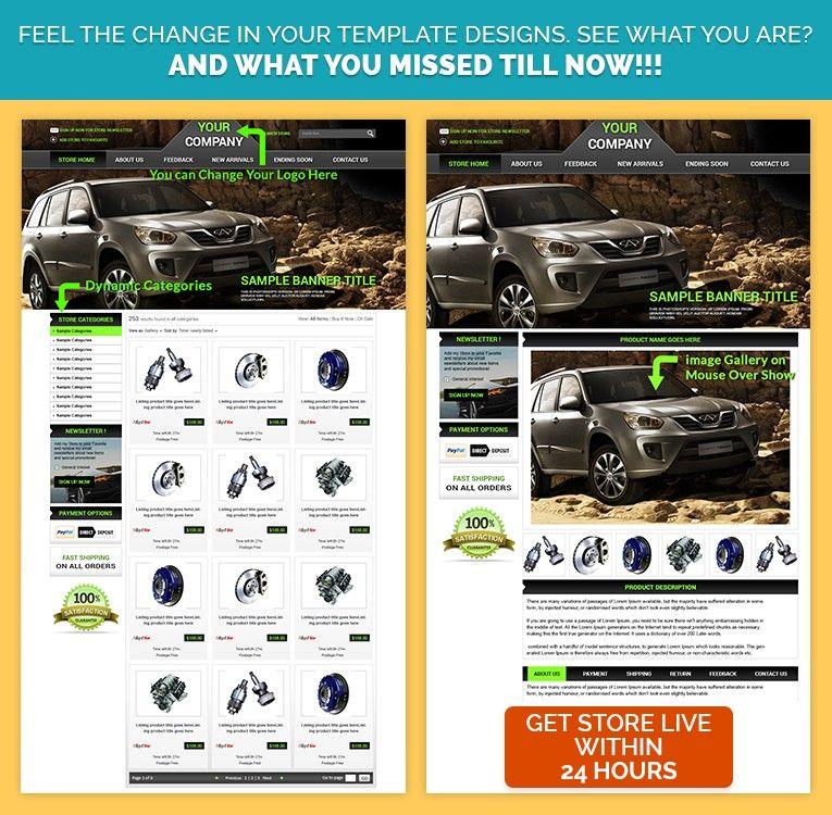 Classic Neon Theme AutomobileHTML eBay Template& HTML Auction ...