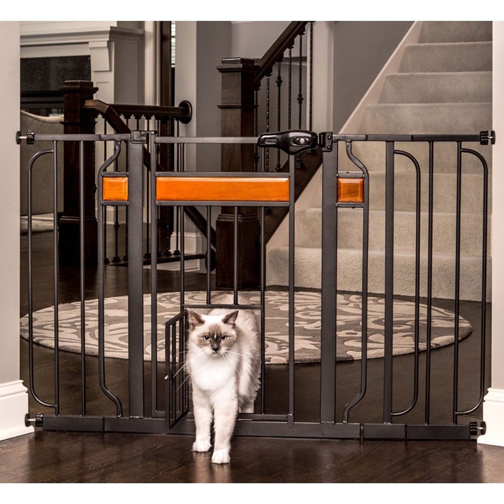 Adjustable Baby Gate Doorway Fence Pet Gates With Door Toddler Safety Lock 30 Carlsonpetproducts Pet Gate With Door Pet Gate Dog Gate Outdoor pet gate extra wide