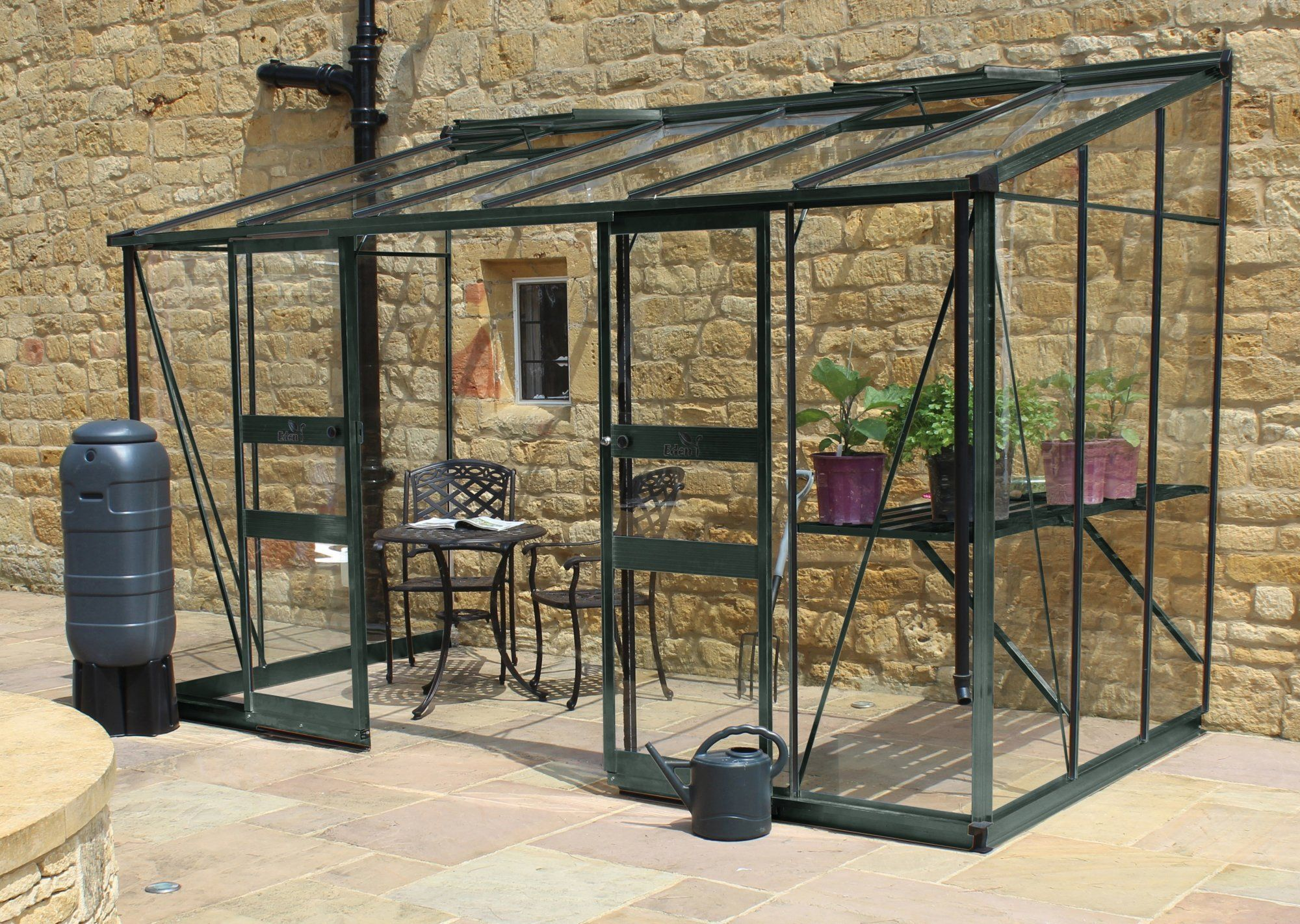 Eden Broadway 12ft x 6ft Lean To Greenhouse with Green Frame ...