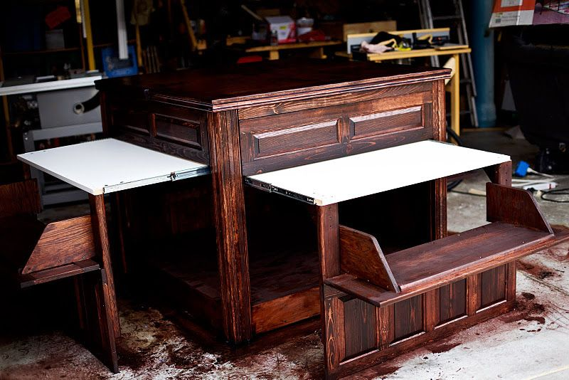 i m in love with this island it has four little fold out tables and benches a spinning top on kitchen island ideas kids id=83190