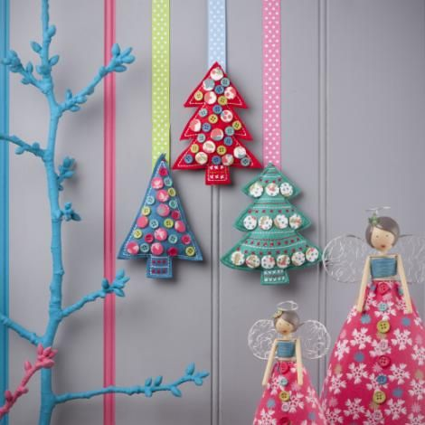 Gisela Graham Fabric Tree With Buttons Decoration - £6.00 - A great range of Hanging Christmas Tree Decorations gifts and homewares from The Contemporary Home Online Shop