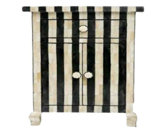 Bone Inlay Furniture   Side Table Cabinet Black U0026 White Striped