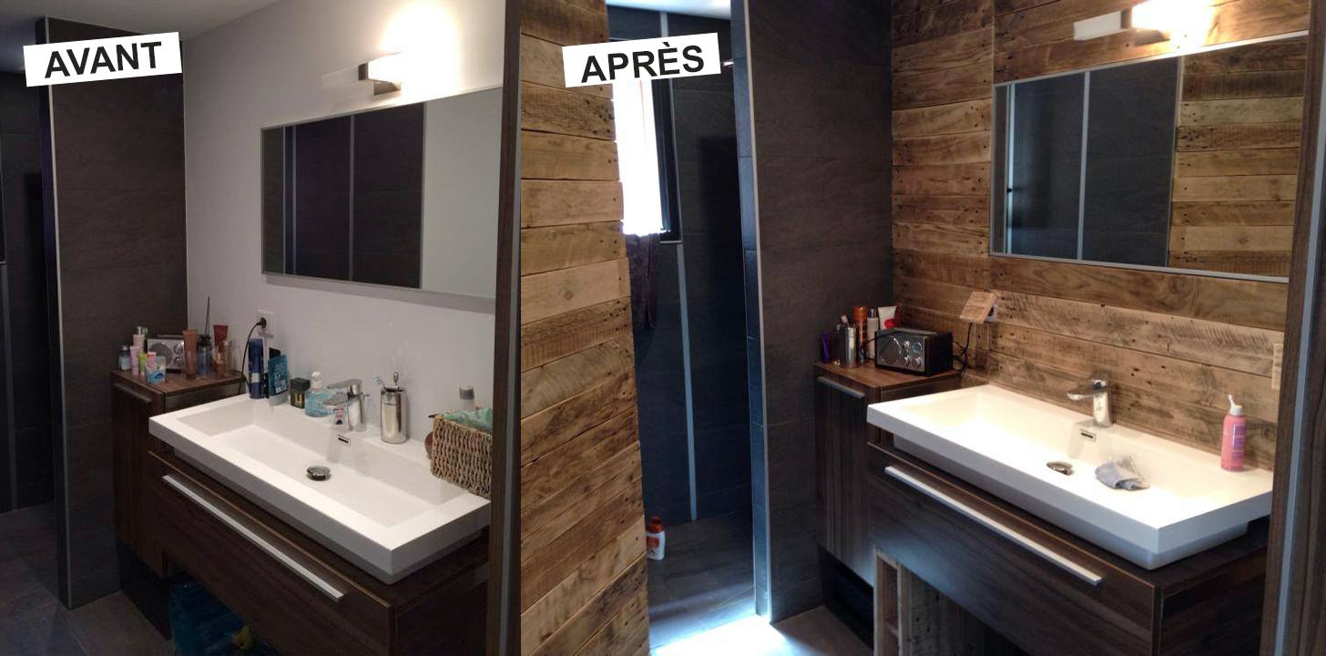 Salle de bain avant apr s home staging pinterest for Repeindre carrelage salle de bain avant apres