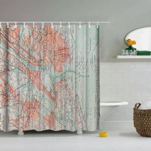 New York Map Fabric Shower Curtain In 2020 Fabric Shower