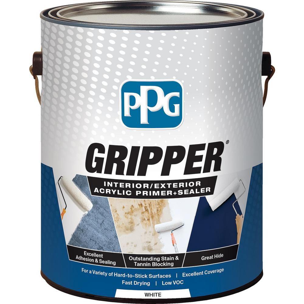 Ppg Gripper 1 Gal White Interior Exterior Acrylic Primer Sealer 1900 0100 01 The Home Depot In 2020 Primer Sealer Acrylic Primer Best Exterior Paint