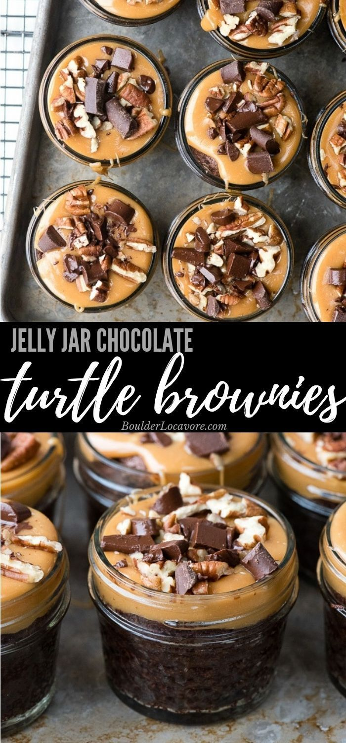 Gooey chocolate brownies topped with salty caramel, pecans and chocolate chunks all baked in a jelly jar  This box mix hack is always a hit! easyrecipe brownies is part of Desserts -