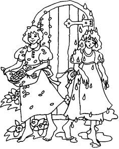 Vrouw Holle Coloring Pages Fairy Tales Art