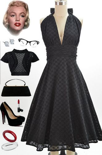 50s Style Black Eyelet Lace Bombshell Pinup Marilyn Halter Sundress w Full Skirt | eBay