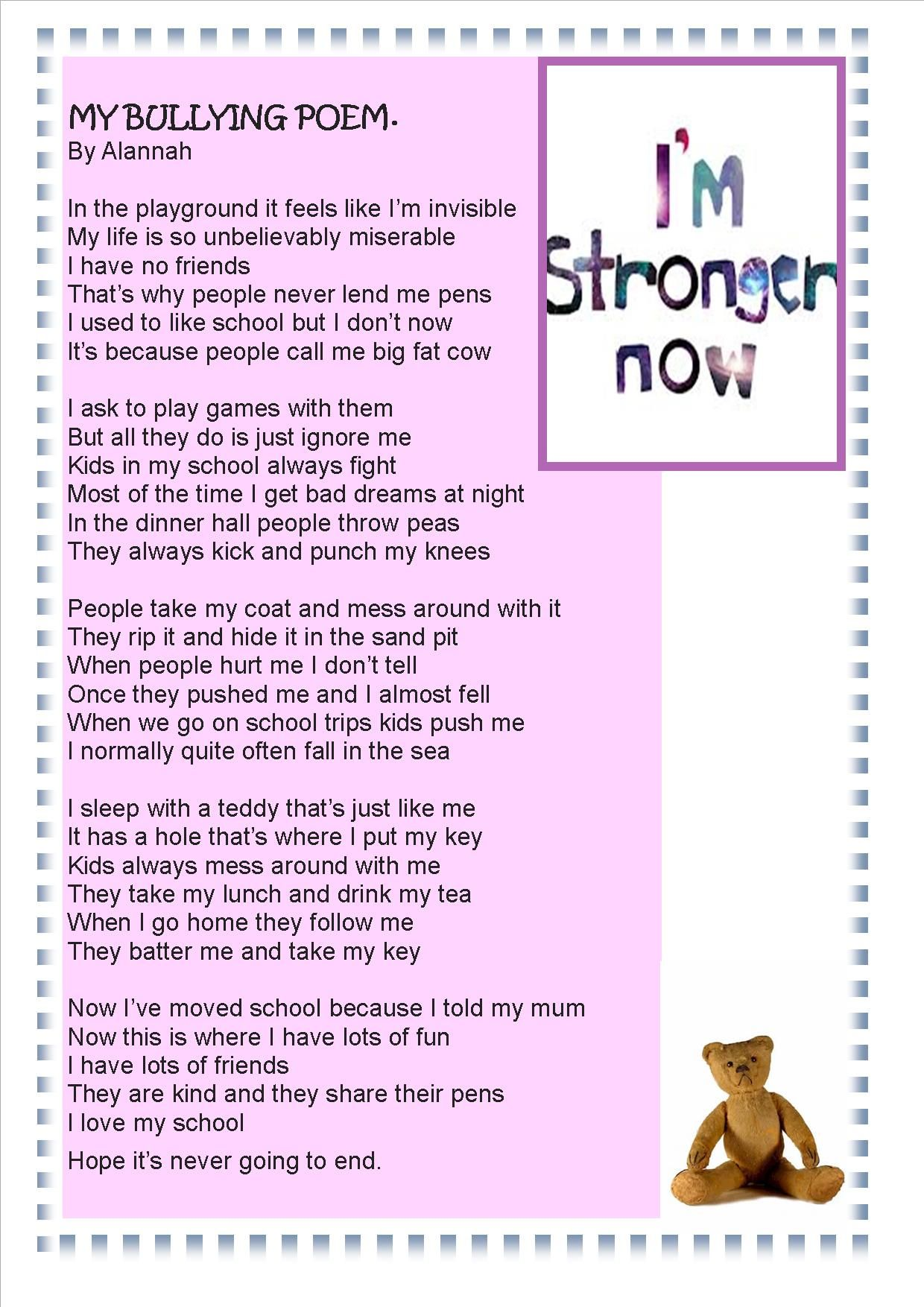 Pin By Jonica Vanasdlen On Being Bullied Poems